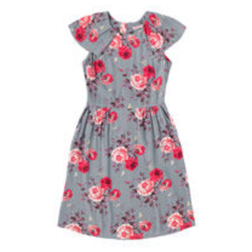 Antique Rose Crepe Frill Detail Tea Dress