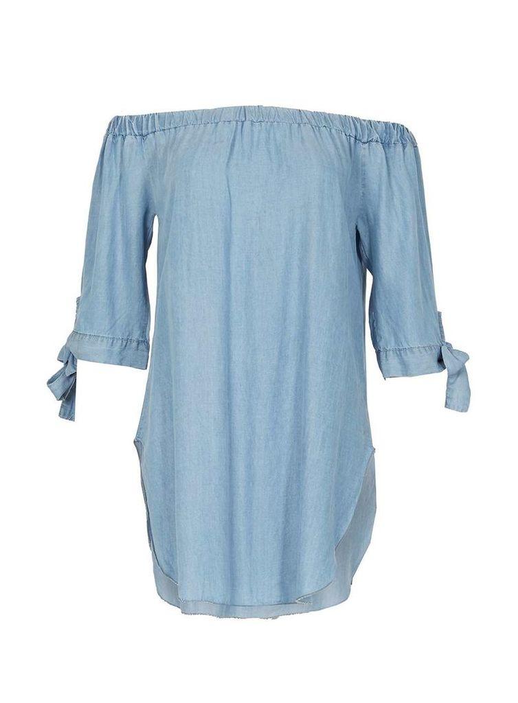 Womens *Voulez Vous Blue Tie Sleeve Bardot Dress- Blue