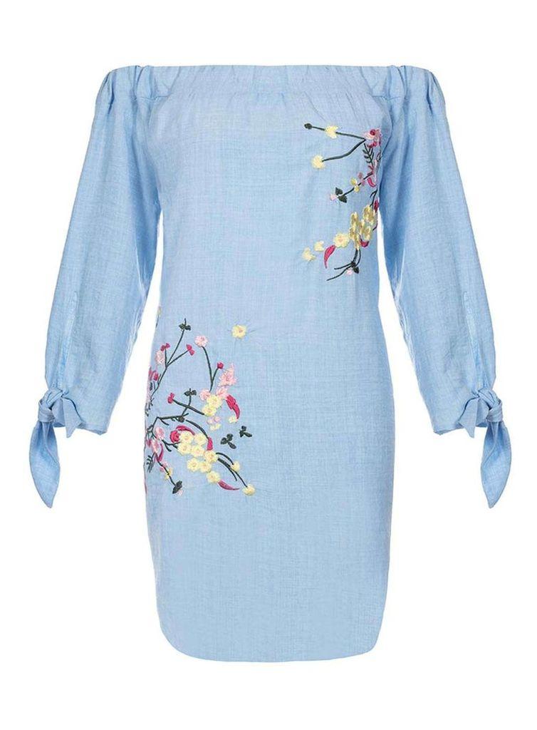 Womens *Quiz Blue Bardot Embroidered Shift Dress- Blue