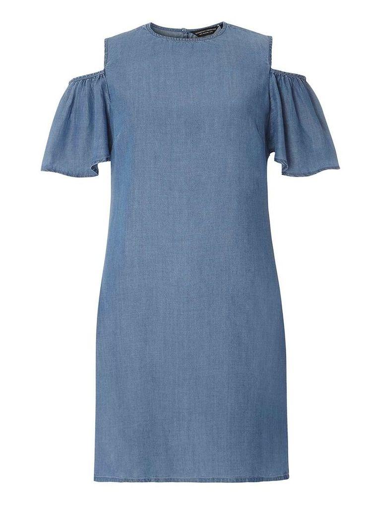 Womens Light Wash Cold Shoulder Denim Tunic- Blue