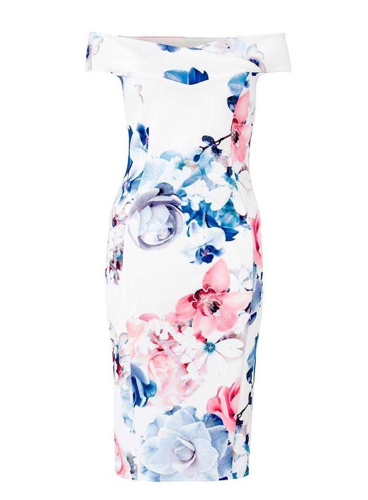 Womens *Quiz Floral Print Bardot Dress- Cream