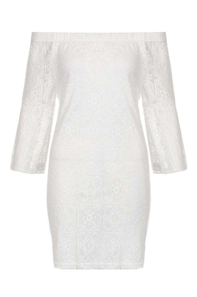 Womens *Quiz Lace Bardot Frill Shift Dress- Cream
