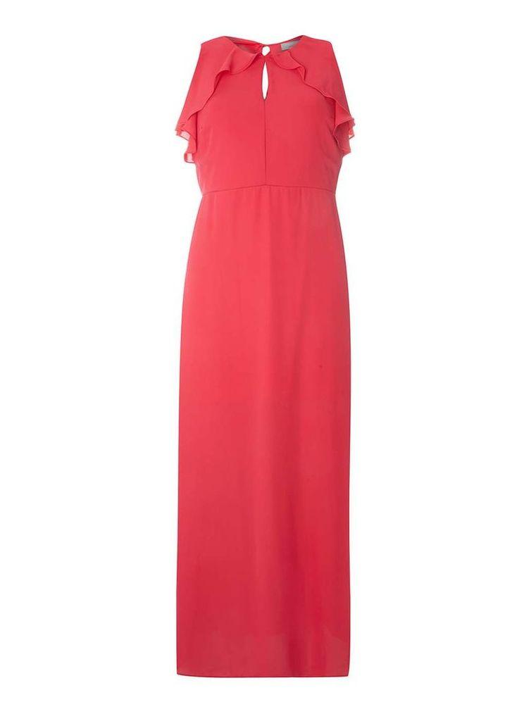 Womens Petite Pink Ruffle Maxi Dress- Pink