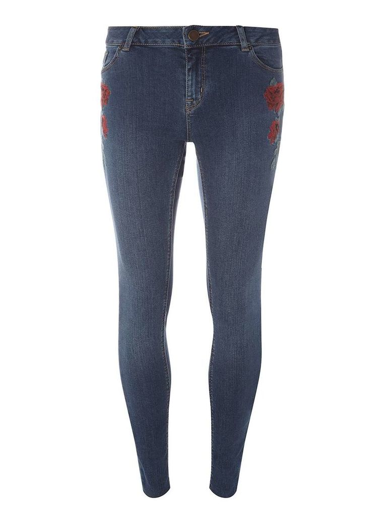 Womens Indigo Rose Embroidered Darcy - Ankle Grazer Jeans- Blue