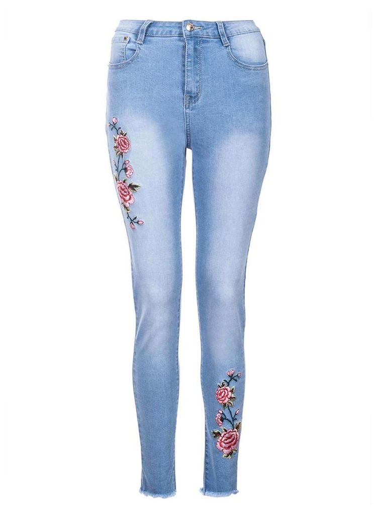 Womens *Quiz Blue Embroidered Ripped Jeans- Blue