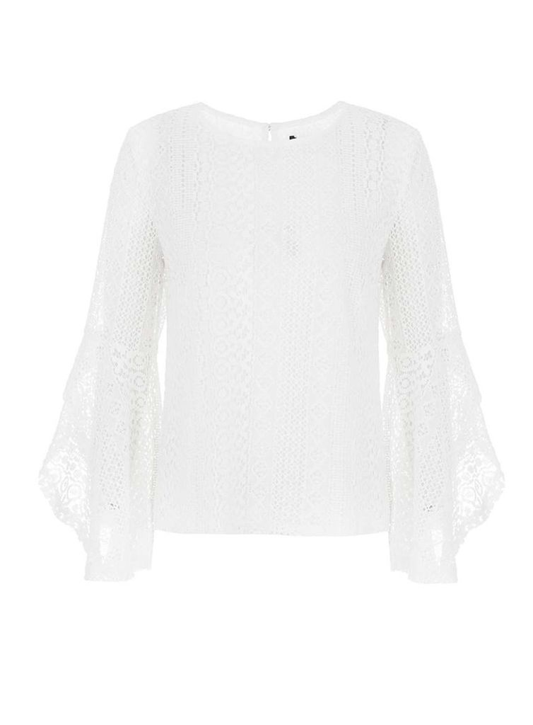 Womens *Quiz White Lace Swing Frill Top- White