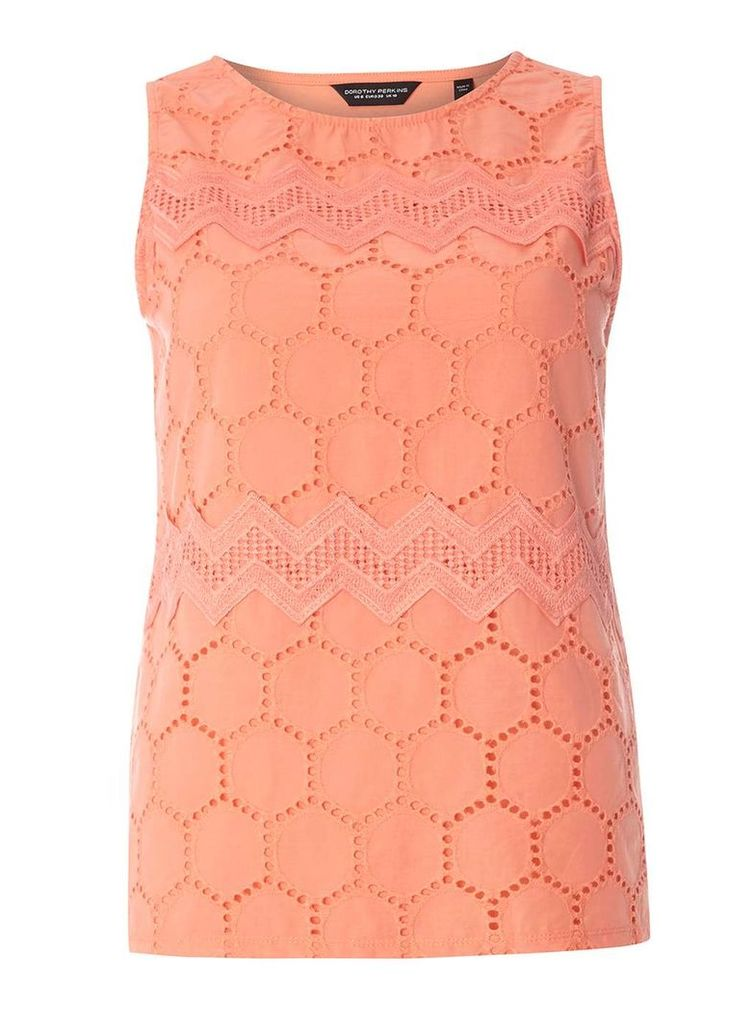 Womens Coral Broderie Lace Shell Top- Coral