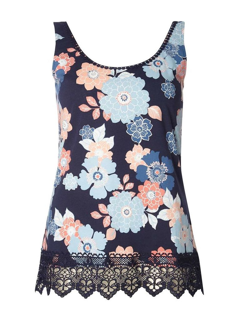 Womens Navy Floral Crochet Vest- Blue