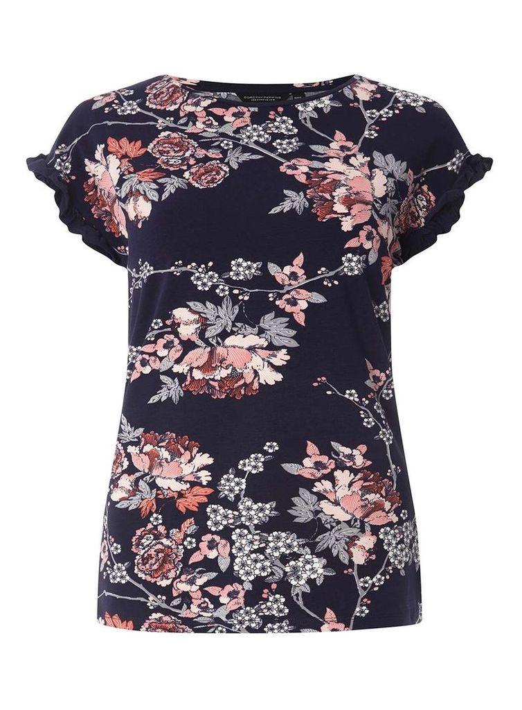Womens Navy Floral Frill Sleeve T-Shirt- Blue