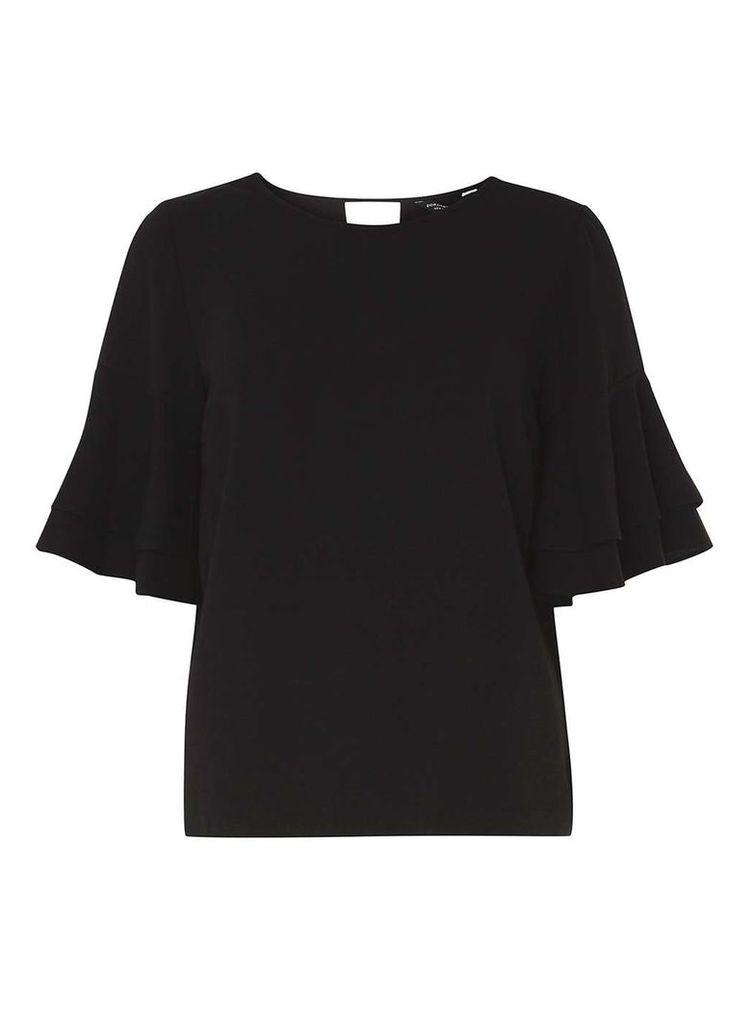 Womens Black Double Ruffle Sleeve Top- Black