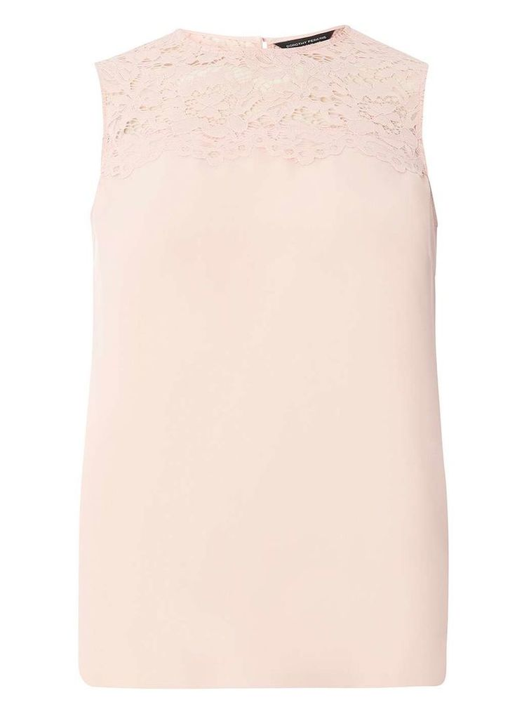 Womens Blush Lace Insert Shell Top- Pink