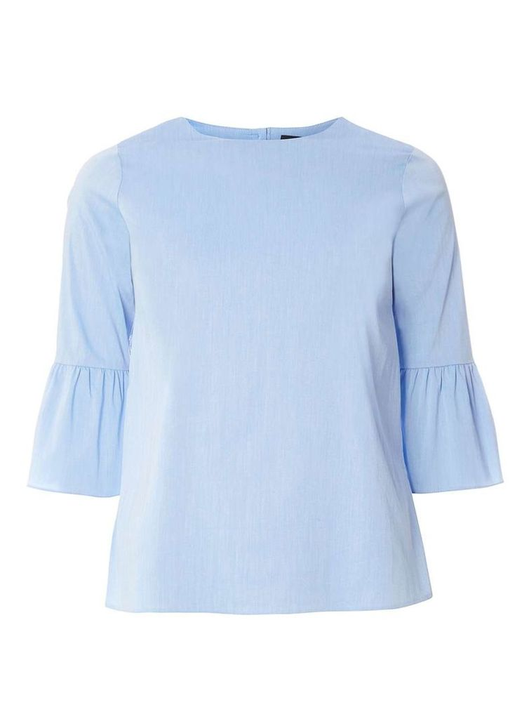 Womens Blue Chambray Flute Sleeve Top- Blue