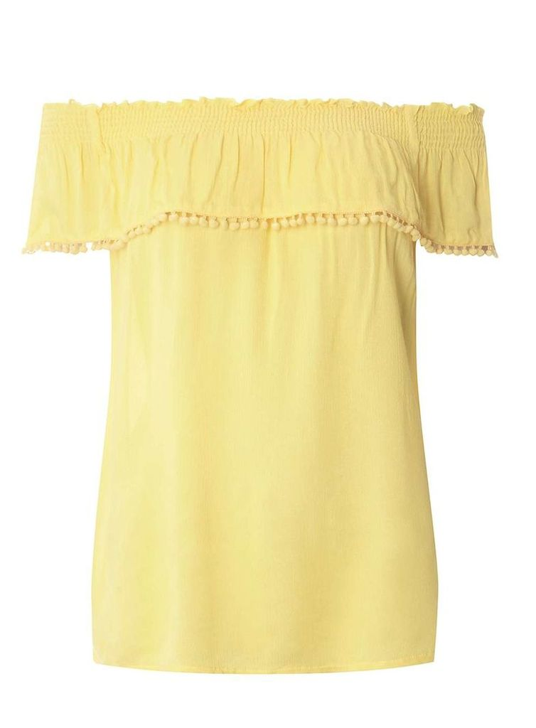 Womens Yellow Pom Pom Bardot Top- Yellow