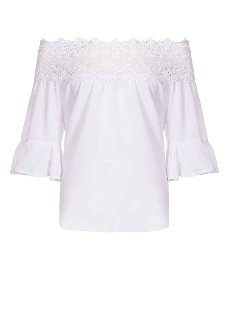 Womens *Quiz White Crochet Trim Bardot Top- White