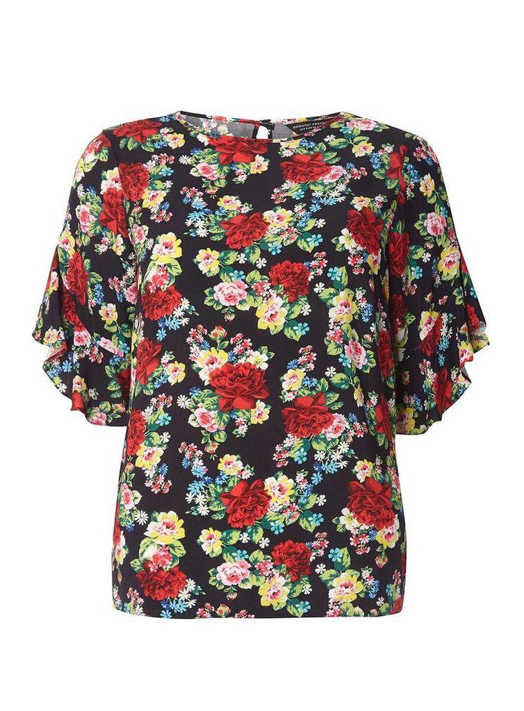 Womens Black Floral Ruffle T-Shirt- Black