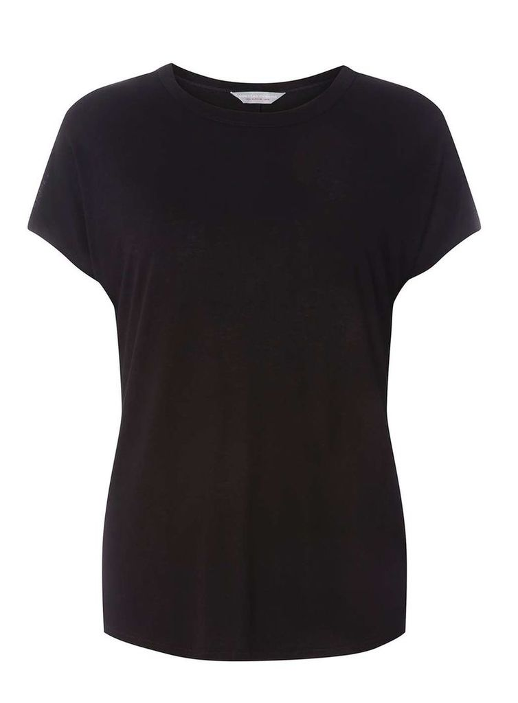 Womens Petite Black Relaxed T-Shirt- Black