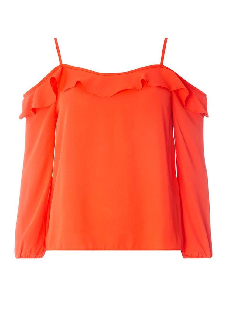 Womens Red Strappy Frill Cold Shoulder Top- Red