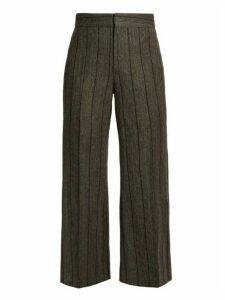 Isabel Marant - Keroan Striped Flared Cropped Trousers - Womens - Dark Grey