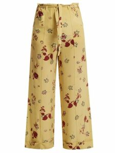 Valentino - Floral-print Silk Crepe De Chine Trousers - Womens - Yellow Print