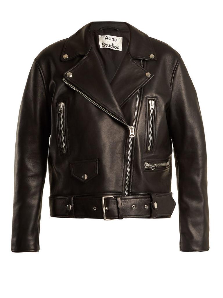 Acne Studios - Merlyn Oversized Leather Biker Jacket - Womens - Black