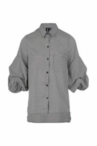 Exaggerated Gingham Sleeve Shirt