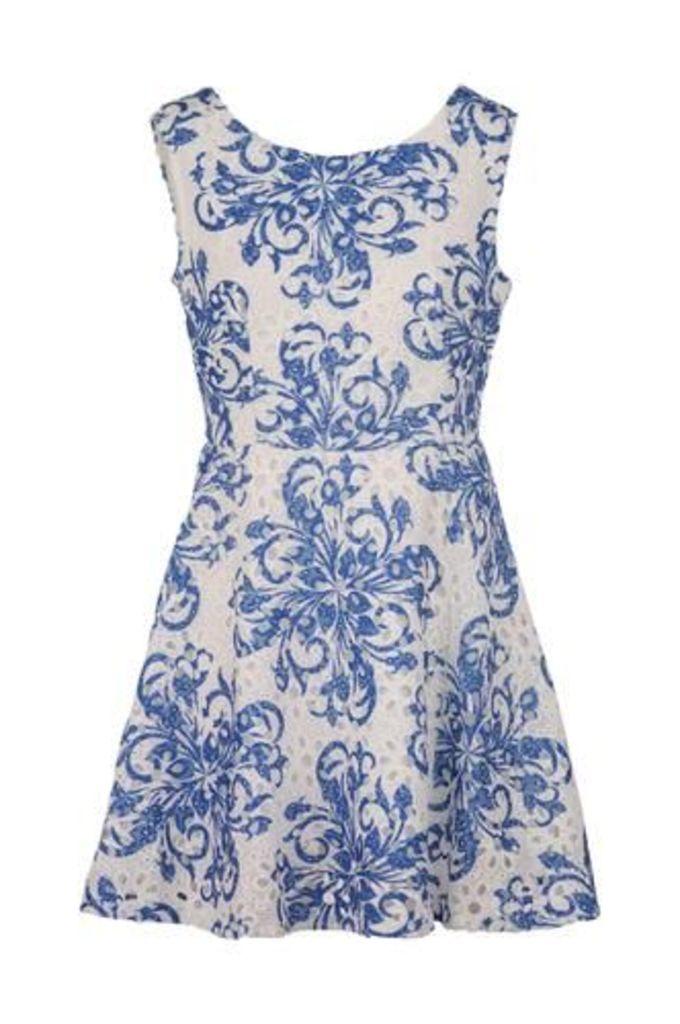 Paisley Print Crochet Dress