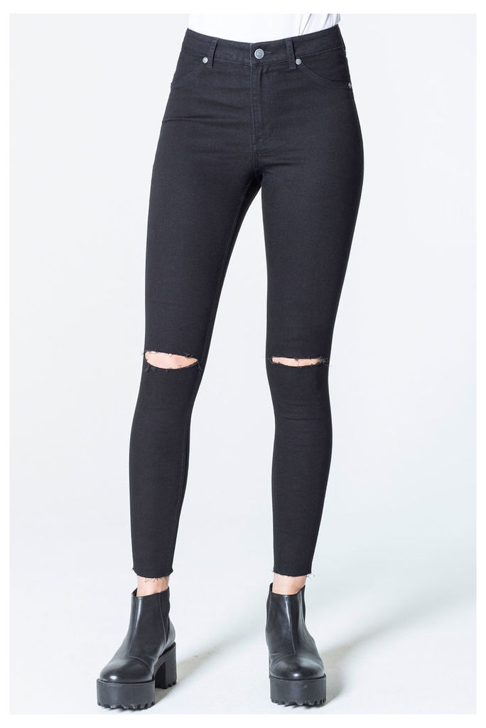 High Spray Cut Black Jeans