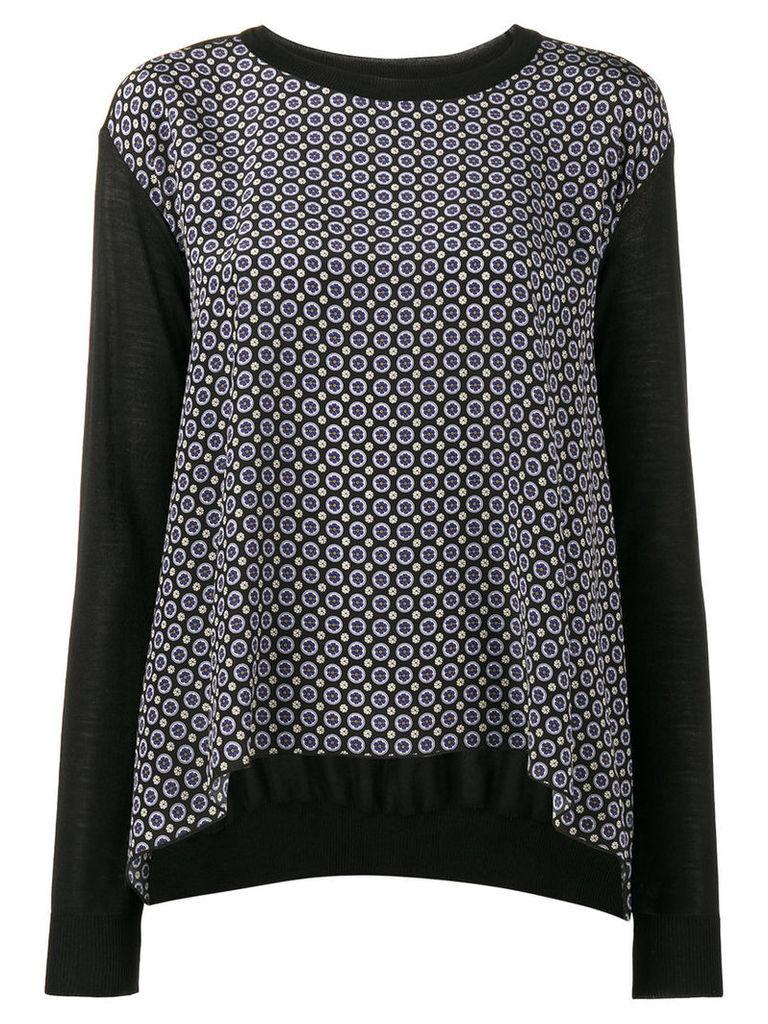 Stella McCartney - Printed Silk and Wool Draped Top - women - Silk/Virgin Wool - 42, Black
