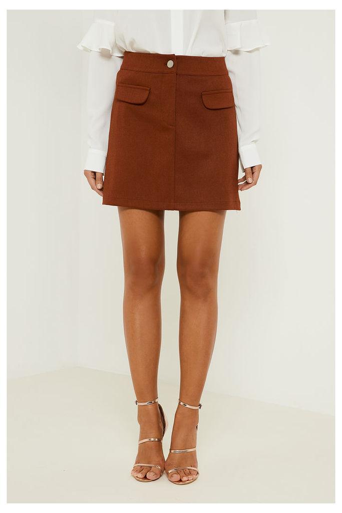 Fashion Union Pocket Detail Tailored Skirt - Brown