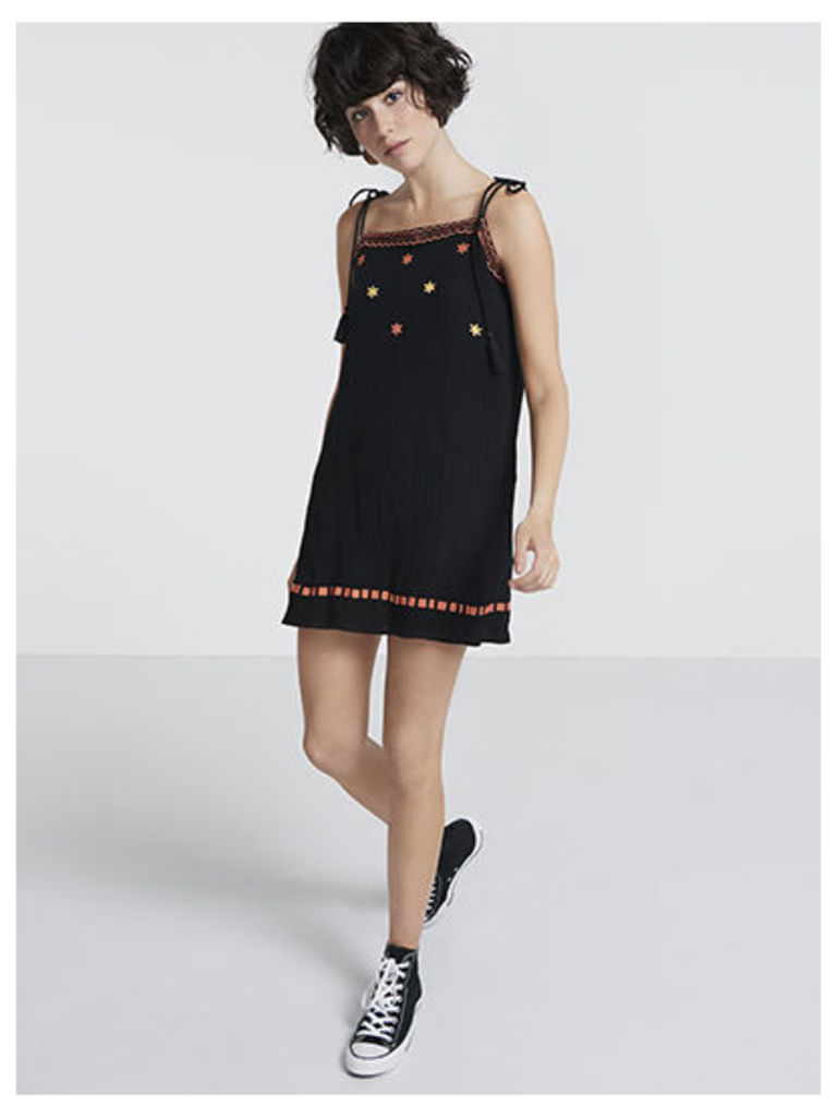 Black Star Embroidered Slip Mini Dress
