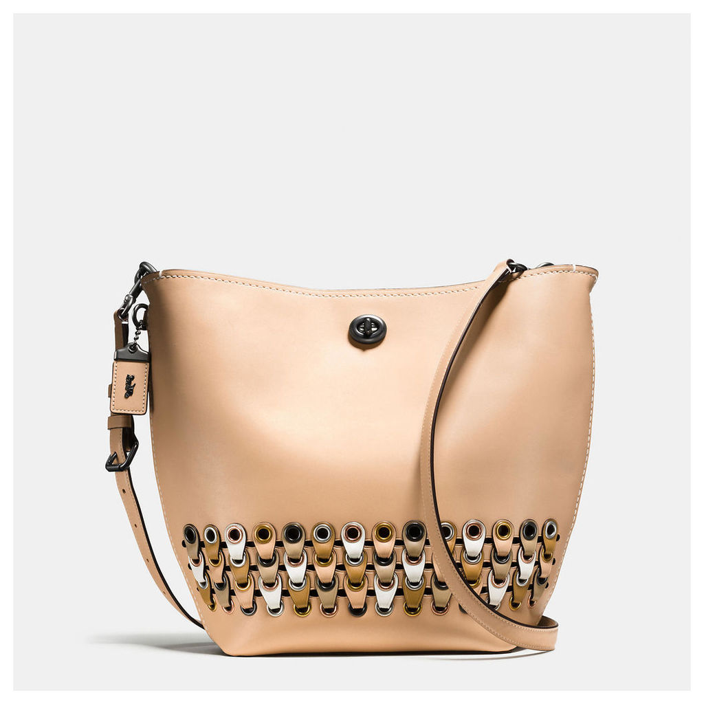 Coach Duffle Shoulder Bag With Link Detail In Glovetanned Leather