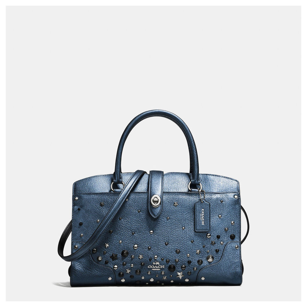 Coach Mercer Satchel 30 In Metallic Leather With Star Rivets
