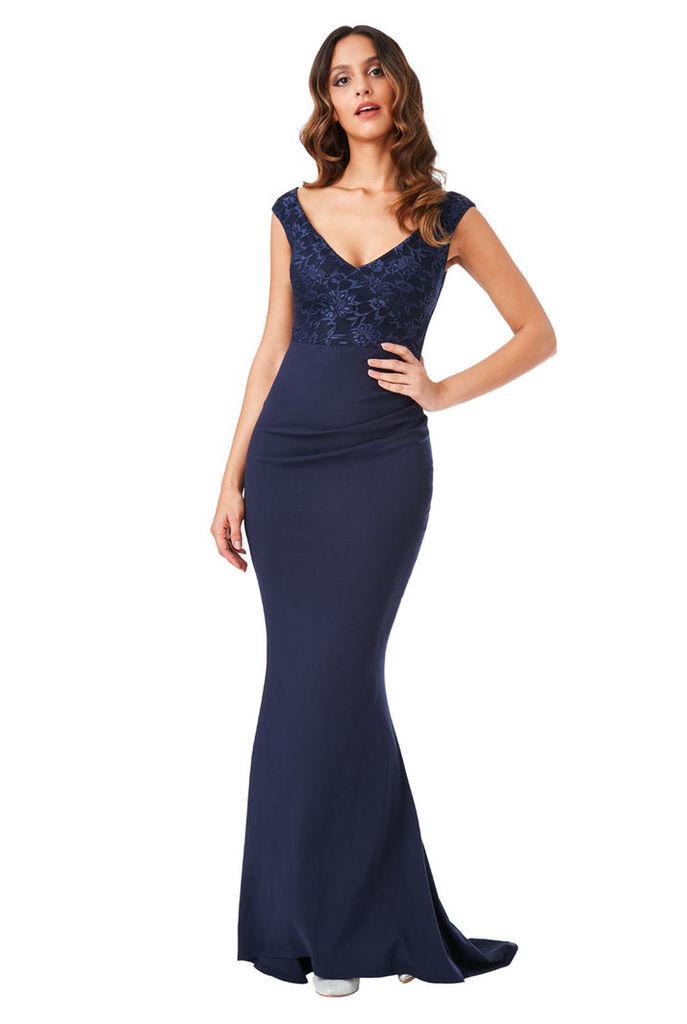 Lace Pleated Maxi Dress - Navy