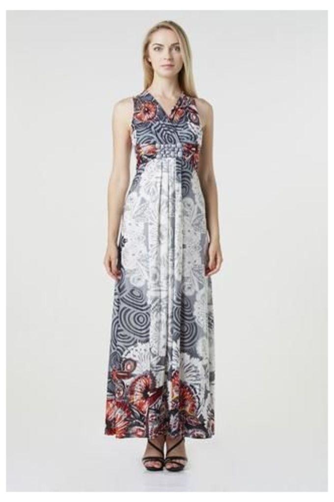 Floral Swirl Print Maxi Dress
