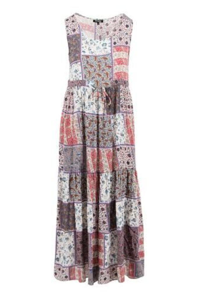 Patchwork Print Gypsy Style Dress