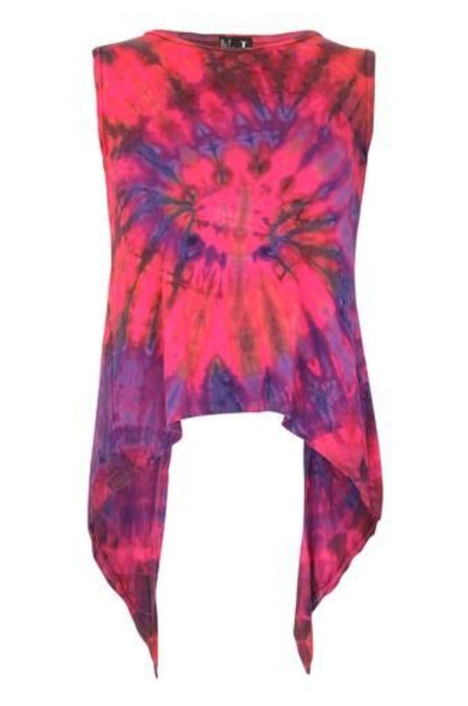 Tie Dye Print Split Back Top