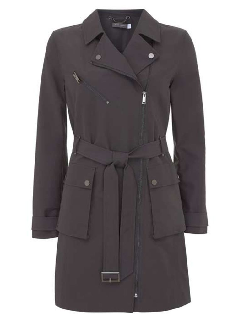 Graphite Zip Detail Trench Coat