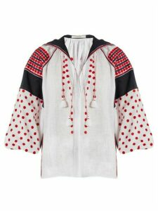 Vita Kin - Dots Embroidered Mid Weight Linen Blouse - Womens - Red White