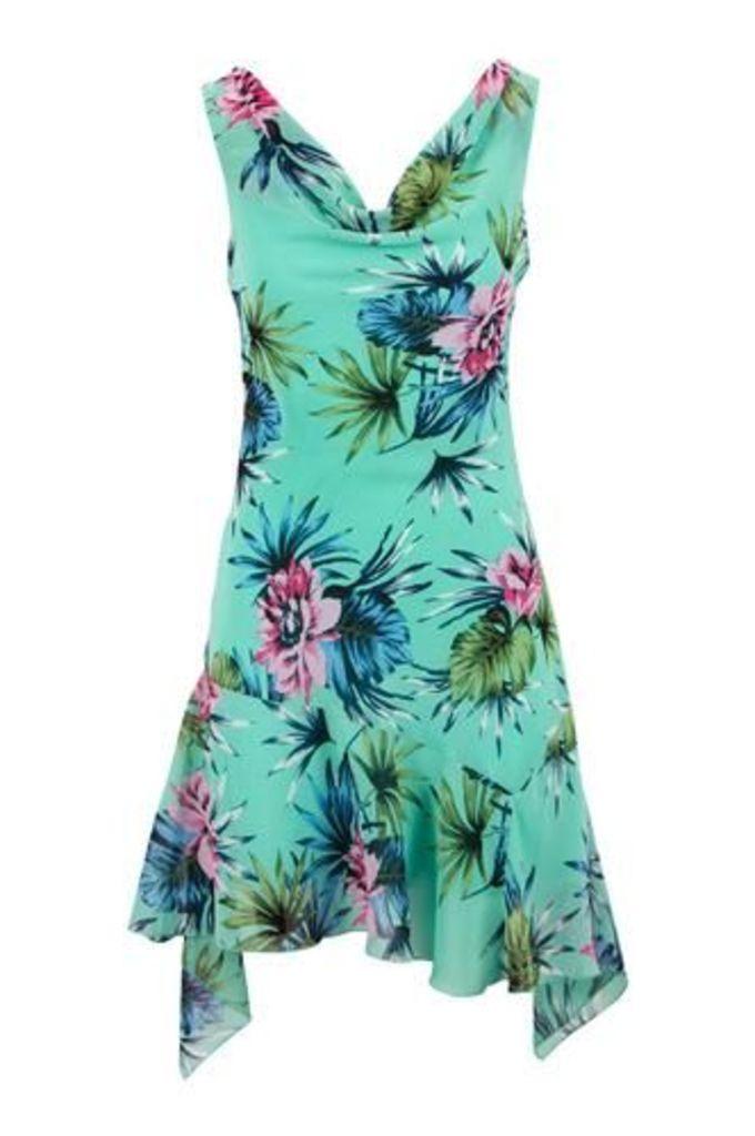 Tropical Floral Print Midi Dress