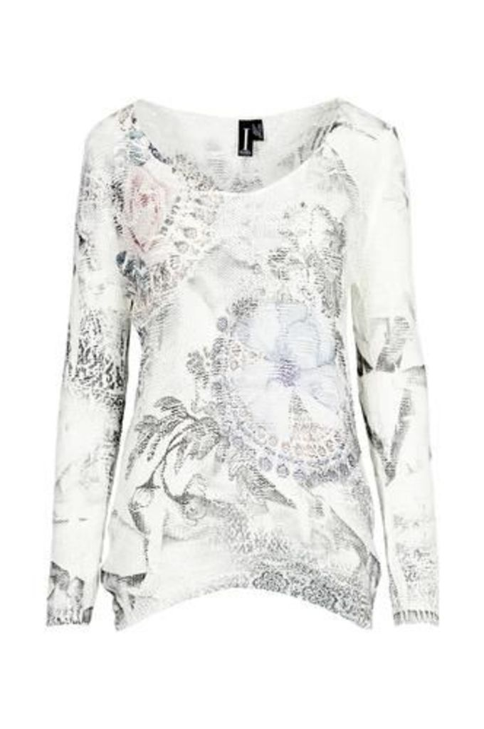 Abstract Floral Textured Jumper