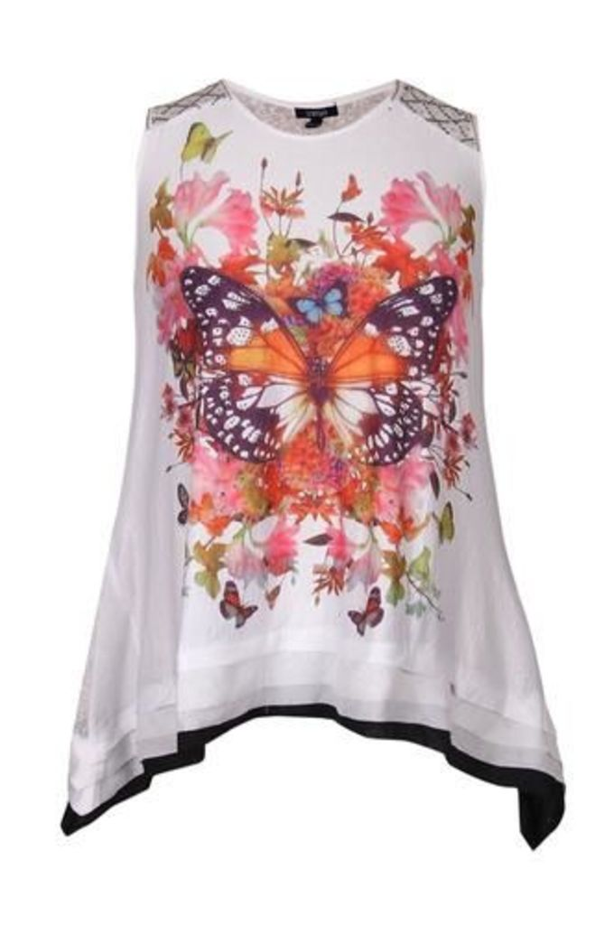 Plus Size Butterfly Floral Print Top