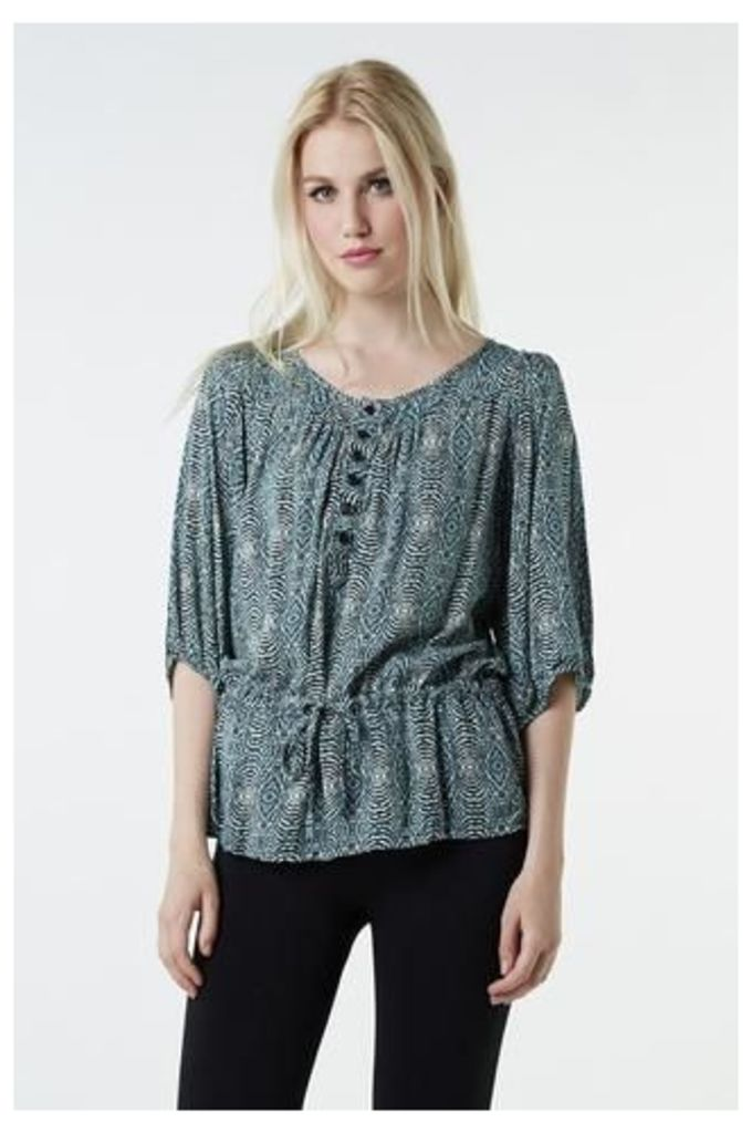 Button Detail Top with Drawstring Waist