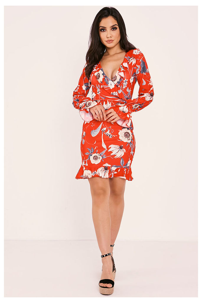 Red Dresses - Rheyna Red Floral Wrap Front Long Sleeve Frill Dress