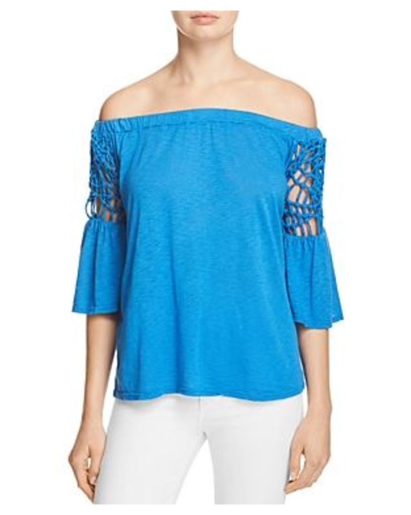 Red Haute Off The Shoulder Statement Sleeve Top