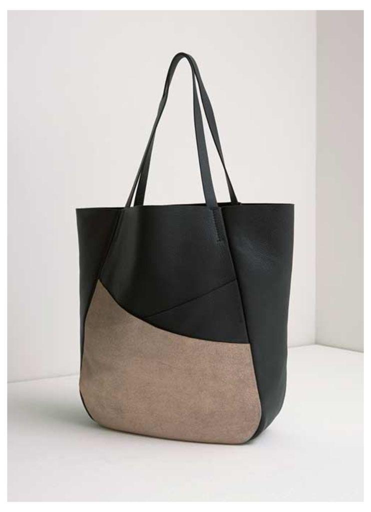 Black Asymmetric Shopper Bag