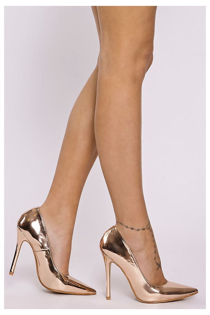 Gold Shoes - Jamille Rose Gold Faux Leather Court Shoes