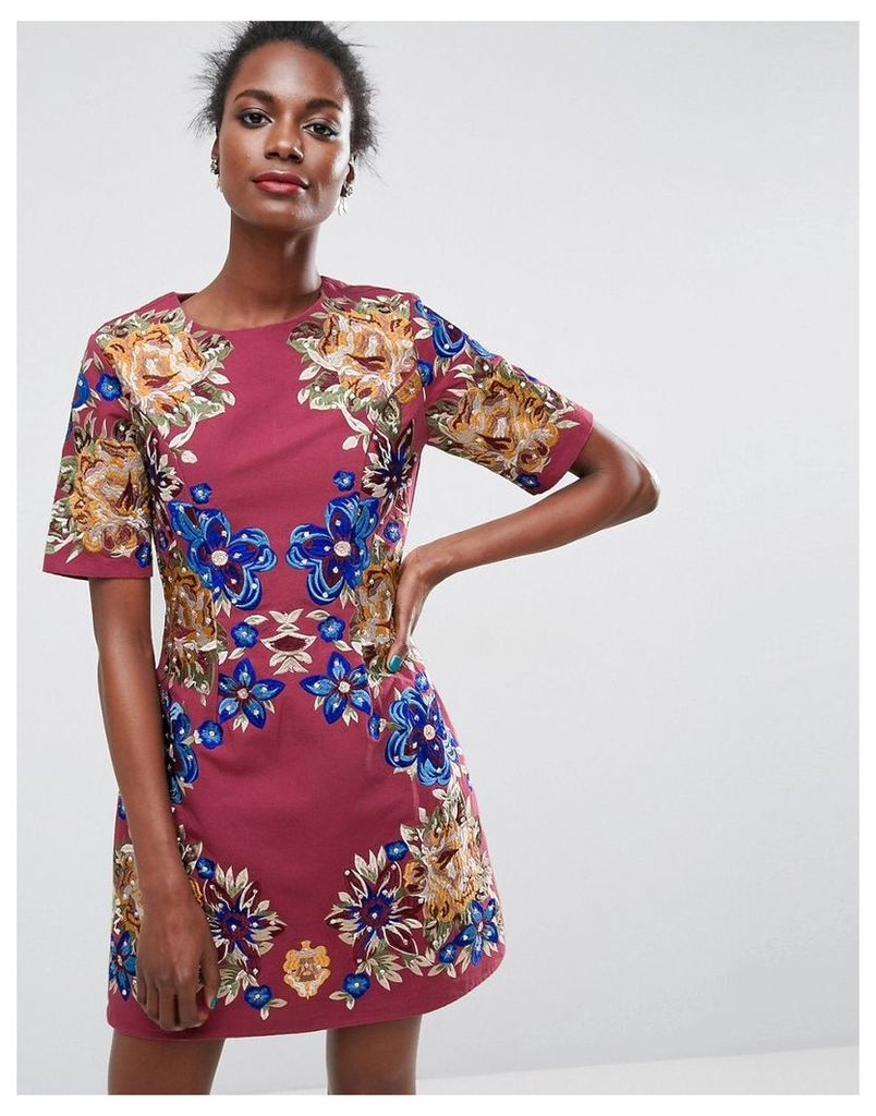 ASOS Premium Embroidered Shift Mini Dress - Oxblood