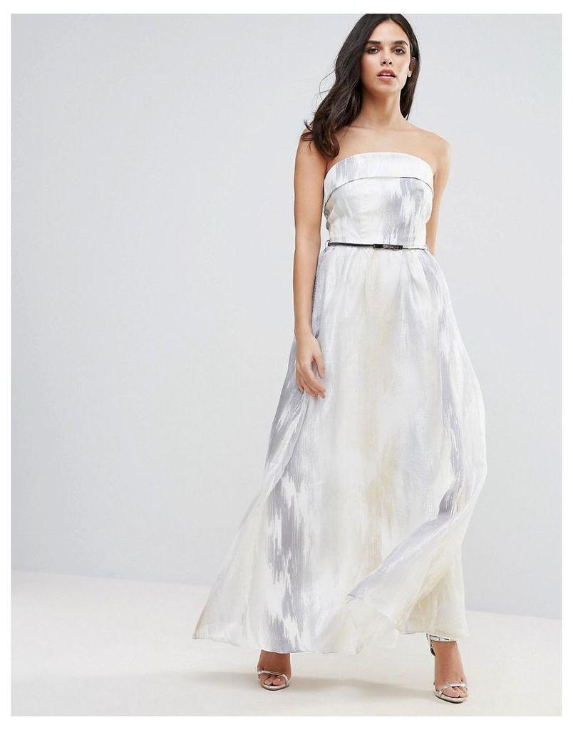 Little Mistress Organza Embroidered Maxi Dress - Silver/white