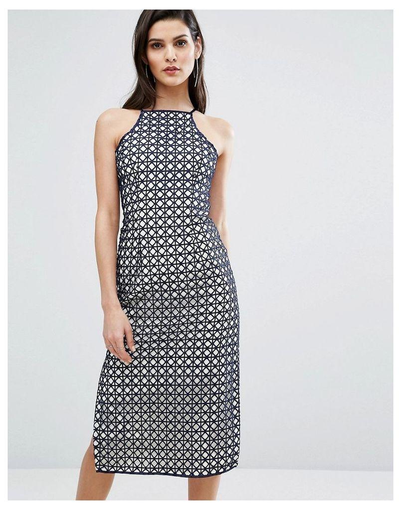The 8th Sign Lace Side Split Midi Dress - Navy