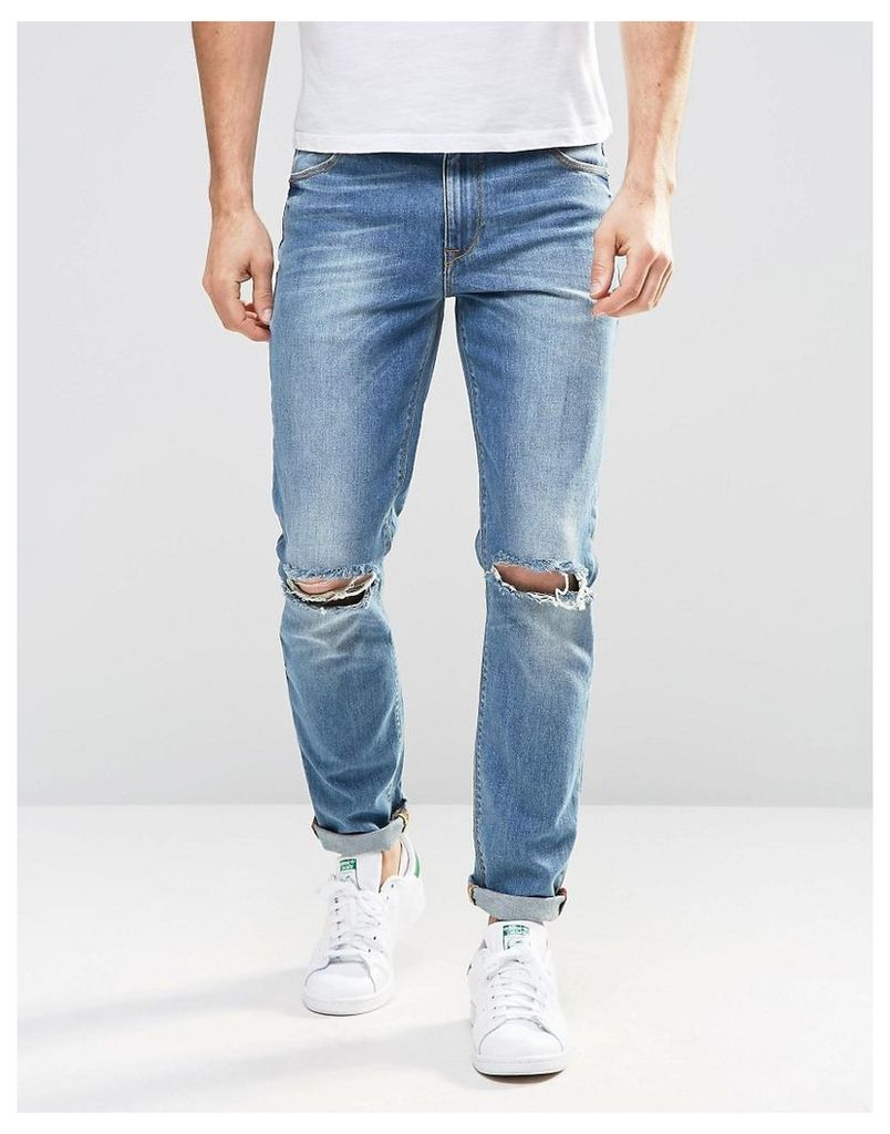ASOS Skinny Jeans In Mid Wash With Knee Rips - Mid wash blue